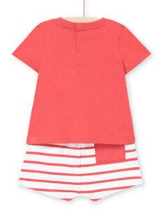 Rotes Baby-Jungen-T-Shirt und Shorts-Set LUVIENS / 21SG10U1ENSF515