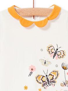 T-shirt ecru und gelb baby girl LIPOEBRA / 21SG09Y1BRA001