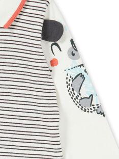 Aus weiß und blau gestreifter Baumwoll-Bodysuit Baby Junge LUPOEBOD / 21SG10Y1BOD001