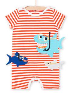 Gestreifter Baby-Strampler für Jungen mit Hai-Motiven LEGAGREQUI / 21SH14C2GRE509