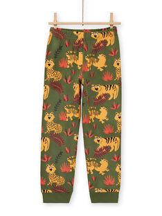 Pyjama-Set für Jungen in Khaki phosphoreszierend mit Tiger-Print MEGOPYJMAN3 / 21WH1273PYGG618