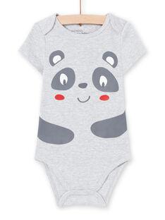 Baby Boy's grauer Panda Print Kurzarm-Body MEGABODPAN / 21WH14B1BDLJ920