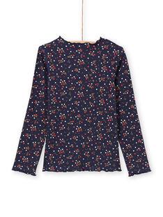 Marineblaues T-Shirt mit Blumenmuster für Mädchen MAJOUTEE6 / 21W90121TMLC205