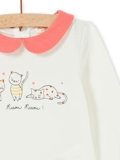Weiß und Koralle Baumwolle Baby Mädchen Strampler LINAUBOD / 21SG09L1BOD001