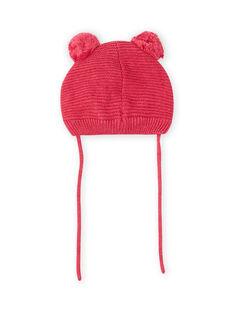 Vintage rosa Mütze mit Katze und Bommeln für Baby Mädchen MYIFUNBON / 21WI0966BOND332
