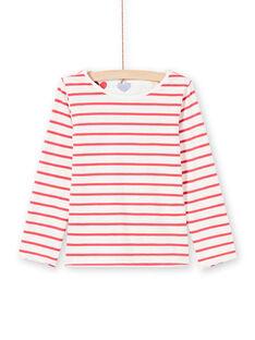 Wende-T-Shirt für Mädchen in Ecru und Rot MAMIXTEE2 / 21W901J4TML001