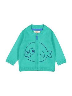 Grüne Baby-Strickweste mit Reißverschluss für Jungen FUJOGIL4 / 19SG1034GIL210