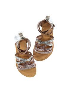 Sandalen aus geflochtenem Metallicleder für draußen Mädchen FFSANDROX / 19SK35C2D0E956