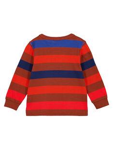 T-Shirt mit Multicolor-Streifen auf braunem Grund GOSANTEE1 / 19W902C4TML817