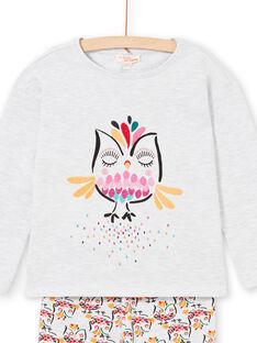 Pyjama-T-shirt und Hose in meliertem Grau und Gelb für Kinder und Mädchen LEFAPYJOWL / 21SH1152PYJJ920