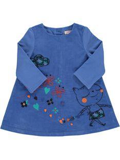 Baby girls' velour dress DIBLEROB2 / 18WG0992ROB201