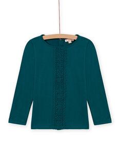 Entenblaues Mädchen-T-Shirt mit Spitze MAJOSTEE4 / 21W90129TML714