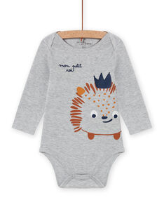 Baby Junge Langarm-Body grau Igel Druck MEGABODSON / 21WH14C5BDLJ922