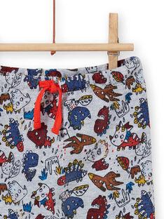 Grau melierte Hose für Baby-Jungen mit Dinosaurier-Print MUPAPAN1 / 21WG10H2PAN943