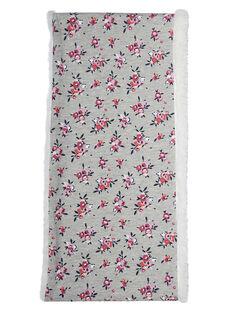 Grauer Schlauchschal mit Doppel-Loop für Mädchen, mit Blumenmuster, Innenseite Sherpa JYAVISNOO / 20SI01D1SNO943