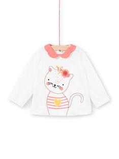 Weißes langärmeliges T-Shirt mit kontrastierendem Kragen LINAUBRA / 21SG09L1BRA001