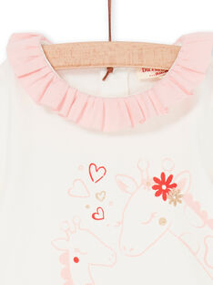 Aus weiß und rosa Baby-Mädchen-Bodysuit LICANBOD / 21SG09M1BOD001