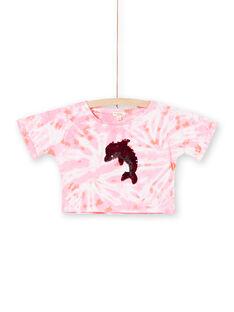 Rosa und ecrufarbenes kurzes T-Shirt mit Wendepailletten LABONTI4 / 21S901W1TMC000