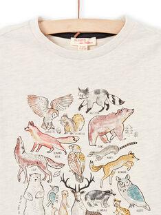 Beiges Langarm-T-Shirt für Jungen mit Waldtier-Print MOSAUTEE3 / 21W902P2TMLA013