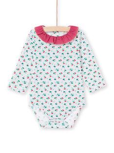 Langarm-Body für Baby-Mädchen mit Rüschenkragen und Blumendruck MITUBOD / 21WG09K1BOD001
