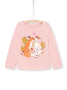 Rosa Langarm-T-Shirt für Mädchen mit Fuchs- und Leopardenprint MASAUTEE3 / 21W901P3TML303