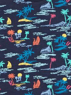 Palm Print navy blau und gelb T-Shirt für Kinder und Jungen LOBONTI3 / 21S902W6TMC705
