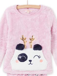 Rosa Panda-Pyjama-Set in weicher Boa für Kind Mädchen MEFAPYJKAN / 21WH1191PYJ326