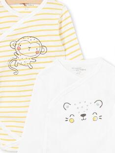 Set von 2 gelben und weißen Bodys für Jungen Geburten LOU1BOD2 / 21SF04H2BOD000