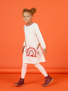 Weißes gefüttertes Kleid mit Taschenmotiv für Kind Mädchen MACOMROB4 / 21W901L4ROB006
