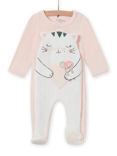Blassrosa Strampler mit Katzenmotiv für Baby Mädchen MEFIGRECHA / 21WH1382GRE301