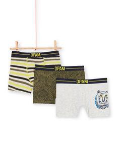3er-Pack khakifarbene und graue Boxershorts für Jungen LEGOBOXTIG / 21SH1221BOX612