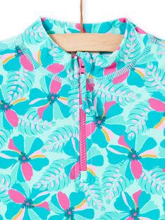 Türkisfarbenes Anti-UV-T-Shirt für Kinder und Mädchen LYAMERLUV / 21SI01D1TUVG621