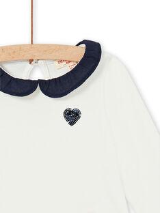 Ecru und dunkelblau Baumwolle Baby Mädchen T-shirt LIJOBRA4 / 21SG0934BRA001