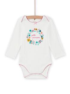 Weißer Baby-Mädchen-Body mit Blumenkronendesign MEFIBODPRI / 21WH13C4BDL001