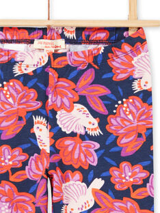 Marineblaue Leggings für Baby-Mädchen mit Vogel- und Blumendruck MYAPALEG / 21WI01H1CALC205