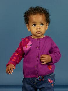 Baby Mädchen lila gestrickte Strickjacke mit Leopardenmuster MIPACAR / 21WG09H2CAR712
