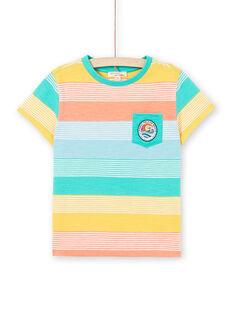 Gelb und grün gestreiftes T-Shirt für Jungen und Mädchen LOBONTI4 / 21S902W4TMC600