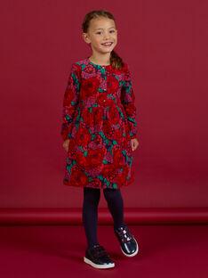 Langärmeliges Kleid mit Blumendruck aus Cord für Mädchen MAFUNROB1 / 21W901M3ROBH703