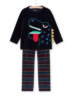 Schlafanzug-Set für Kind Junge mit phosphoreszierenden Dinosauriern MEGOPYJDIN / 21WH1293PYJ705