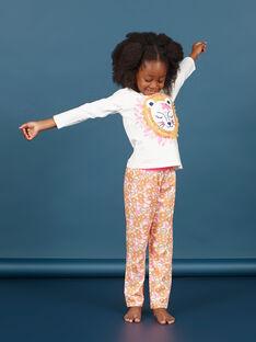 Mädchen weiß und orange T-Shirt und Hose Pyjama-Set MEFAPYJLEO / 21WH1133PYJ001
