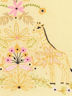 Gelbes Kleid mit Giraffen- und Laubstickerei LAJAUROB4 / 21S901O3ROB116