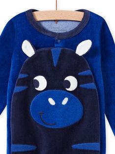 Baby Junge blauer Samt-Zebra-Strampler MEGAGREZEB / 21WH1491GRE217