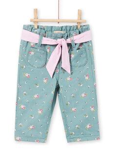 Hellblaue Hose mit Blumendruck für Baby-Mädchen MIKAPAN / 21WG09I1PAN612