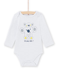 Hellgrau gestreifter Bodysuit Baby Junge MEGABODKOA / 21WH14B7BDLJ925