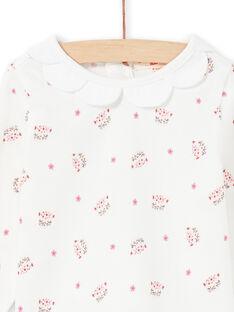 Baby Mädchen ecru Leopard Kopf und Blume drucken Langarm-T-Shirt MIPABRA / 21WG09H2BRA001