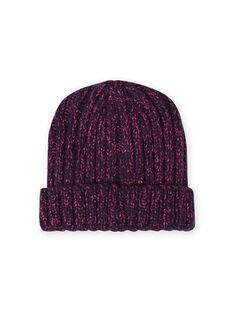 Mitternachtsblaue und rosa Chenille-Strickmütze für Mädchen MYATUBON / 21WI0156BONC205