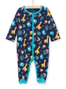 Reversible Baby Junge Nacht blau Tier drucken Strampler MEGAGREANI / 21WH1486GREC205