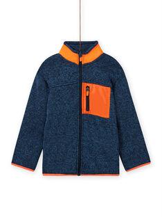 Blau-grau melierte Strickjacke für Jungen mit orangefarbenen Einsätzen MOJOGITEK3 / 21W90213GIL219