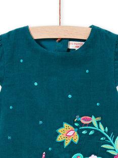 Baby Mädchen Ente Blau Ärmelloses Kleid MITUROB2 / 21WG09K2ROB714