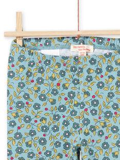 Blaue und khakifarbene Leggings für Mädchen mit Blumendruck MYAKALEG1 / 21WI01I1CAL612